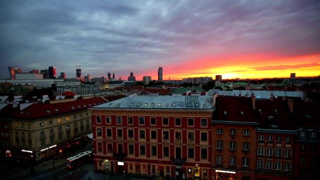 Skyline Warsaw by night