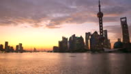 skyline, water and landscape of modern buildings  in  shanghai time lapse 4k