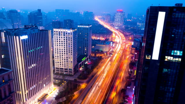 skyline,builings and traffic of modern city,hangzhou ,timelapse