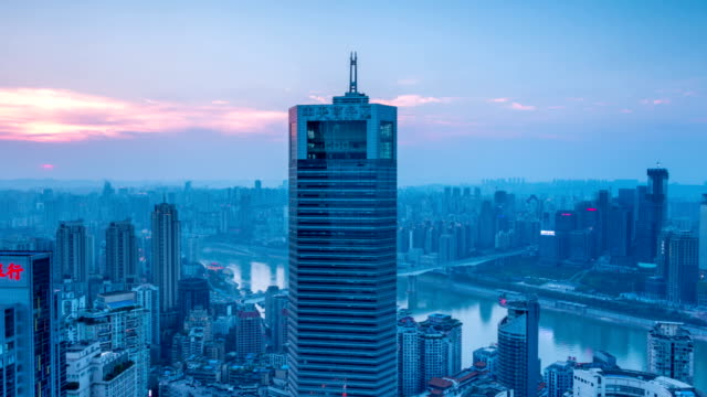 skyline,cityscape,buildings of modern city chongqing at sunset,timelapse.