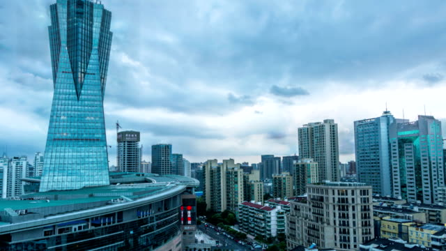 skyline,cloudscape and buildings of hangzhou day to night,timelapse.