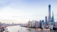 Skyline,traffic and modern buildings of shanghai in pudong day to night,time lapse