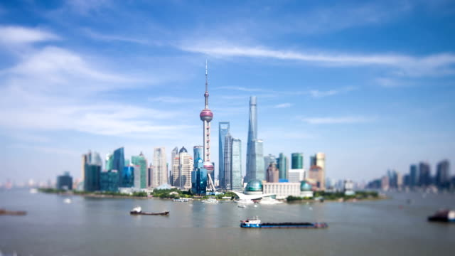 Skyline,traffic and modern buildings of shanghai in pudong,time lapse
