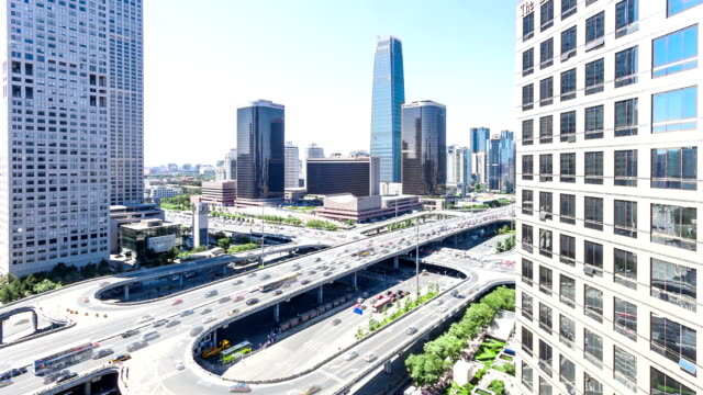 skyline,traffic and office buildings in Beijing,china,timelapse.