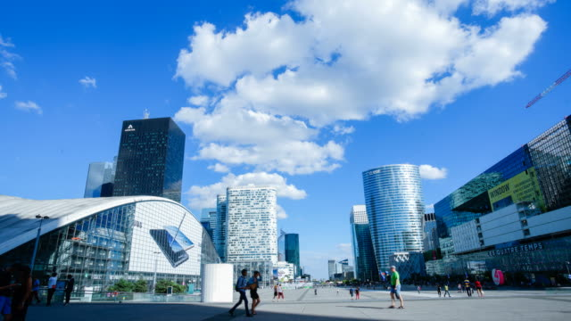 4K Skyscraper office business building in Paris, La defense - time-lapse 4K