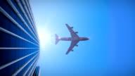 Wolkenkratzer mit Flugzeug - 4K