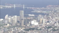 Skyscrapers in Yokohama City border the Port of Yokohama.