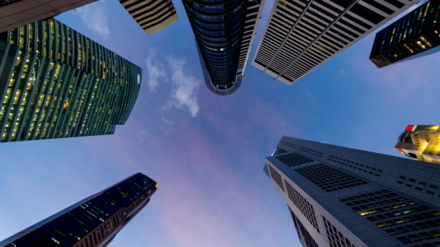 Skyscrapers of Singapore Central Business District, Dusk to Night