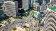 Skyscrappers and Traffic at Sungryemun gate (National Treasure no.1) Area