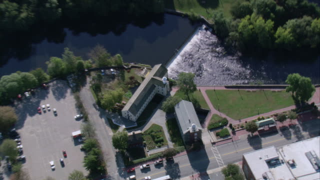 AERIAL Slater Mill Historic Site on the Blackstone river / Pawtucket, Rhode Island, United States