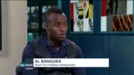 Sport For Freedom Ambassador Al Bangura interview ENGLAND London GIR INT Al Bangura STUDIO interview SOT