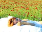 Sleeping in poppy bed