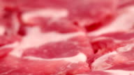 HD, NTSC, PAL: Sliced raw red meat (video)