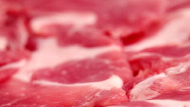 HD, NTSC, PAL: Sliced raw red meat (video)
