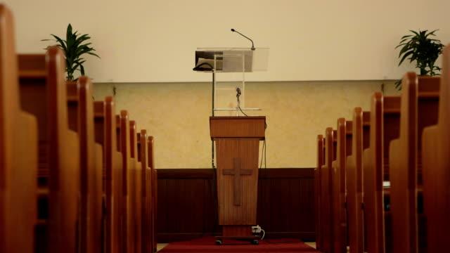 Slider shot of wooden church pulpit