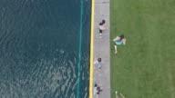 SloMo top-down view of women jogging