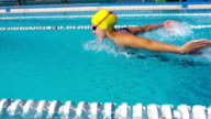 HD Slo-Mo:Motion Effect Shot of Young Women Swimming Butterfly Stroke