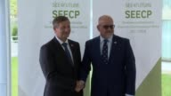 Slovenian Foreign Minister Karl Erjavec welcomes Turkish Foreign Minister Mevlut Cavusoglu ahead of the Ministerial Meeting of Southeast European...