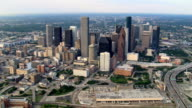 Slow aerial approach to skyscrapers of downtown Houston. Shot in 2007.