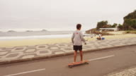 RIO DE JANEIRO, BRAZIL - JUNE 23: Slow dolly shot of skateboard boy at Ipanema Jun 23, 2013 in Rio
