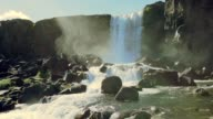 Slow motion Beautiful of Oxararfoss waterfall in Iceland
