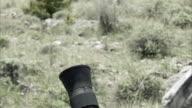 Slow motion clip of mortar firing.