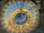 slow motion close up zoom in + zoom out astronomical clock on St Nicholas Church in Prague / Czech Republic