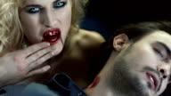 HD Slow Motion: Cruel Vampire Woman Bitting A Man