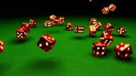 Slow motion dice falling