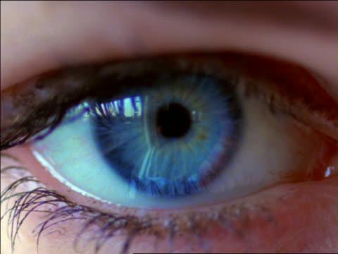 slow motion extreme close up blue eye