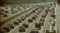 slow motion high angle traffic jam on Santa Monica Freeway / Los Angeles