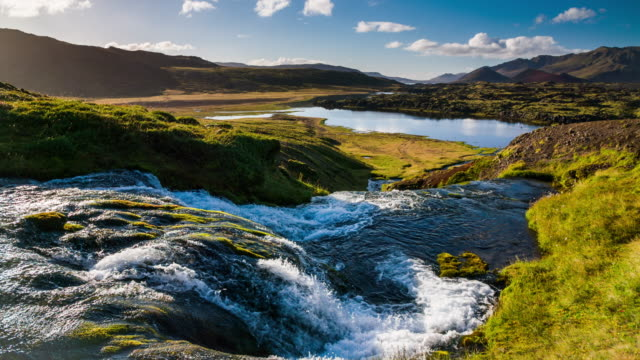 Slow motion Iceland Landscape with Waterfall