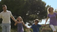 Slow motion low angle tilt up shot of family running in park/Marbella region, Spain