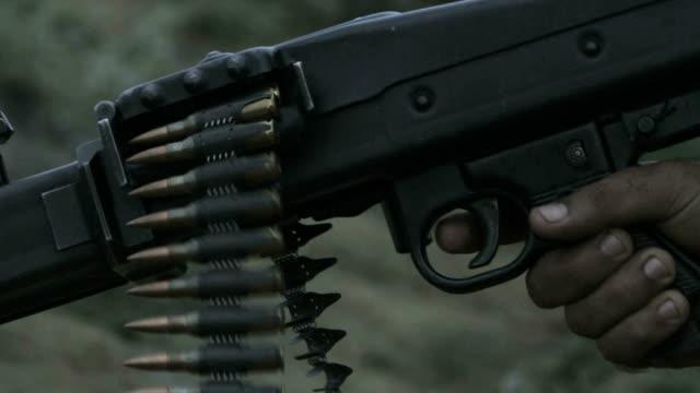 Slow motion machine gun fire