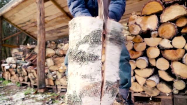 Slow motion: Man chopping wood