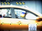 Slow motion medium shot 35mph frontal barrier impact test on 2004 four-door Nissan Maxima with crash test dummies