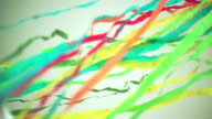 Slow motion of colorful streamers
