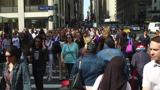 Slow motion of crowds of people walking in New York City
