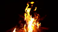 Slow motion of Fire flames on black background
