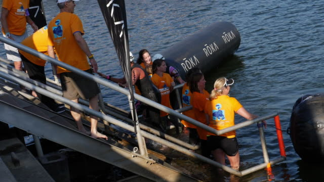 Slow motion of Ironman women swimming race