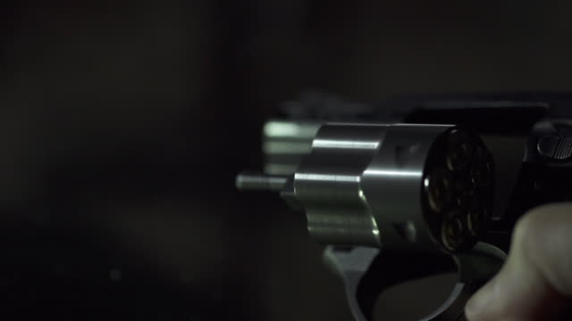 Slow Motion of loading Bullet into Revolver