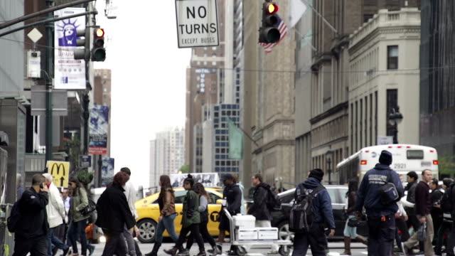 Slow Motion of People Walking and Shopping in New York City
