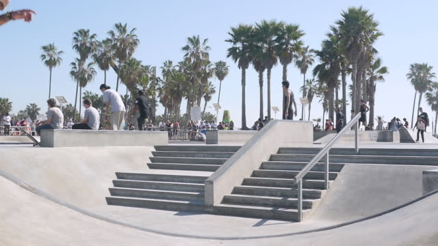 Slow Motion of Playground Roller Skating at Venice Beach