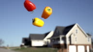 Slow Motion of Tossing Food Into Sky With Blurred House in The Background