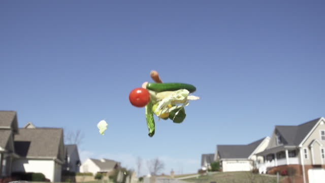 Slow Motion of Tossing Vegetable into Sky with Homes in The Background