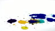 Slow motion paint drop colorful falling white background splashing