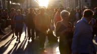 HD slow motion: Pedestrian Commuter Crowd Walking at champs elysee Paris, France