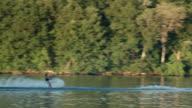 Slow motion people having fun in a lake