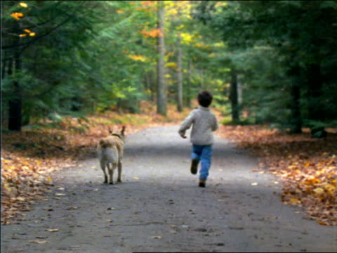 slow motion rear view of boy with dog running down country road in Autumn / Connecticut