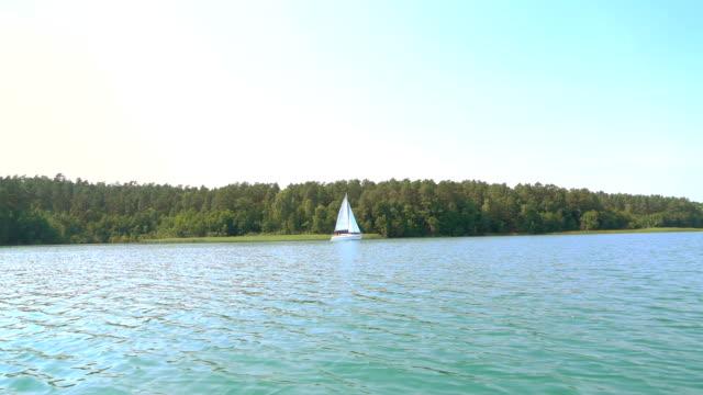 Slow motion: Sailboat and lake landscape
